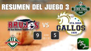Resumen J3 SerieFinalLIV Brujos de San Andres Vs Gallos de Santa Rosa 20-01-2015
