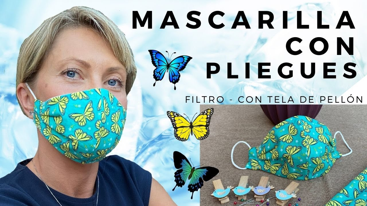 MASCARILLA DE TELA CON PLIEGUES Y FILTRO | Dibujo Mariposas 🦋🦋🦋 | Protective Mask ,how to create
