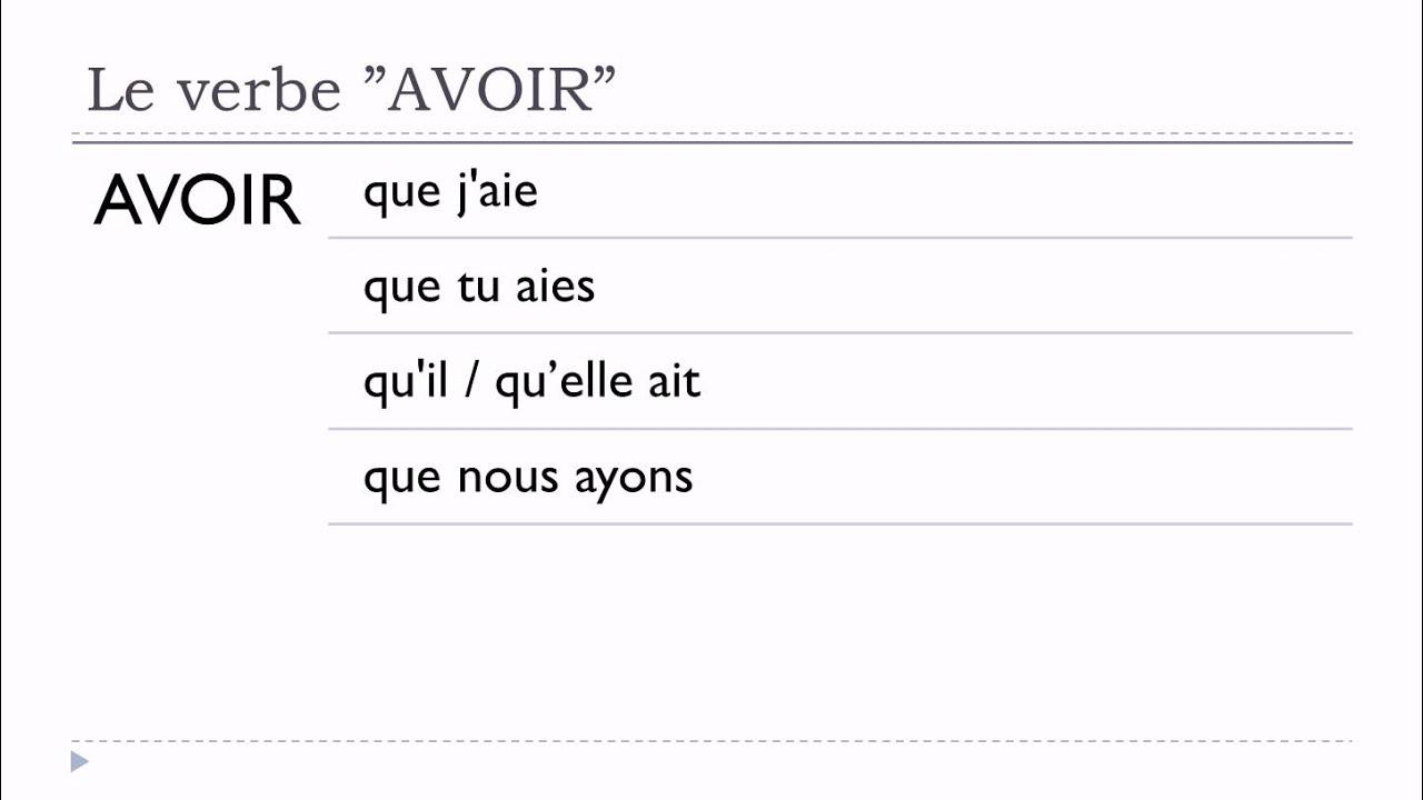 Apprenez Le Francais Verbe Avoir Subjonctif Present Youtube