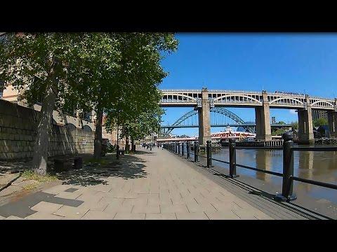 Newcastle upon Tyne Cycle Route - Quayside to Wallsend Segedunum using Hadrian's Way HD POV