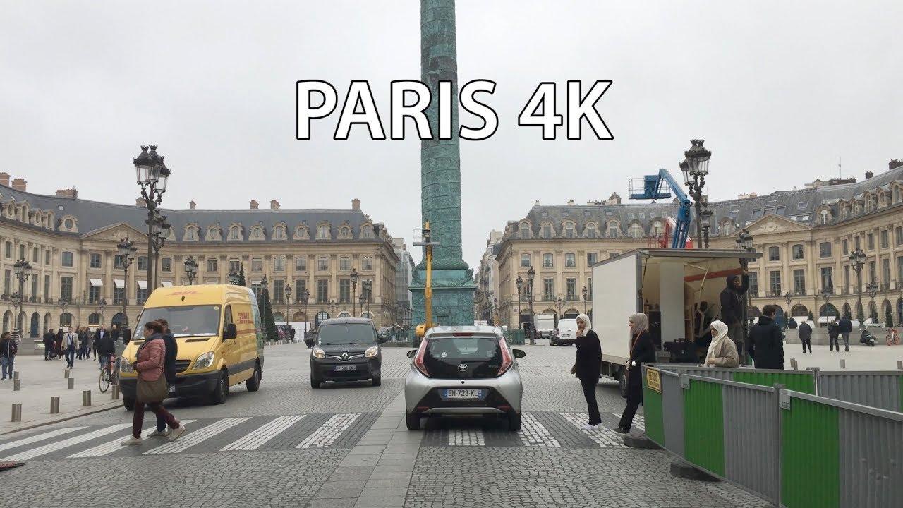 Paris 4K - City Center - Driving Downtown - France