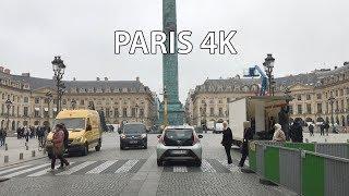 Paris 4K   City Center   Driving Downtown France