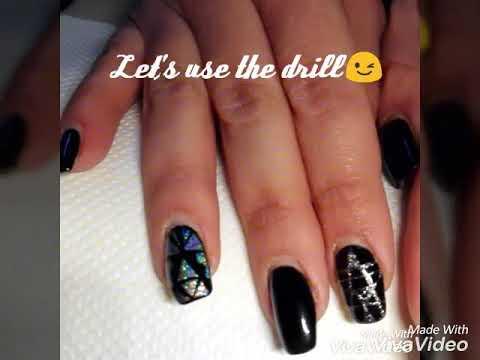 Black Holo Neckles Gel Nails Ricostruzione Unghie Gel Nero Opaco