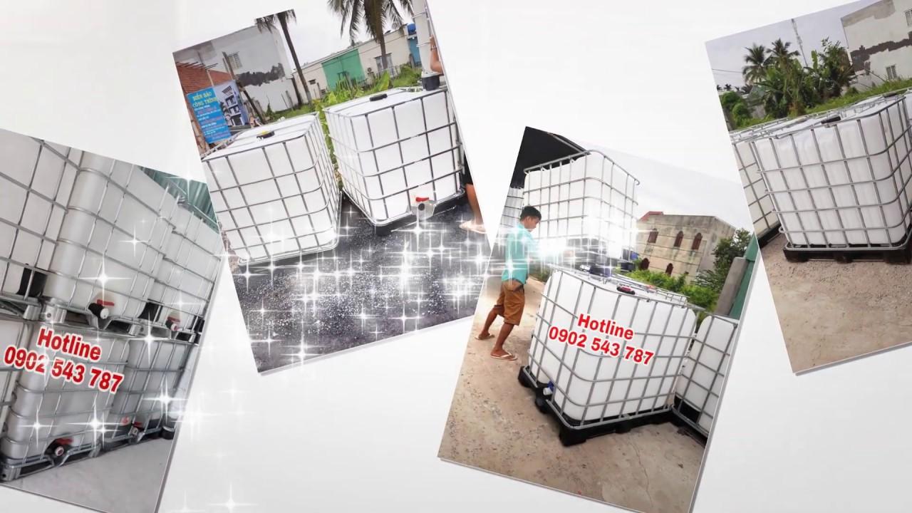 Bồn nhựa vuông trắng 1000 lít có khung sắt đựng hóa chất, tank nhựa ibc 1000 lít - Hotline 0902 543 787