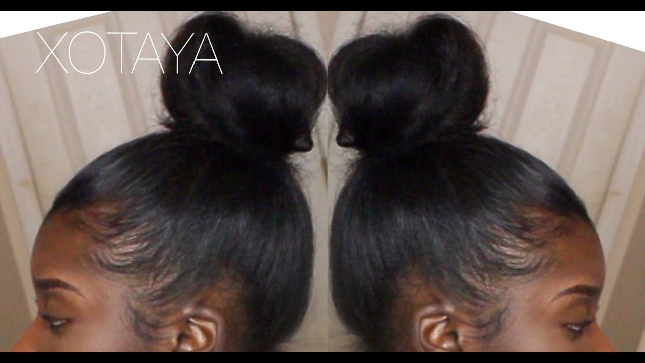 QUICK & EASY SLEEK HIGH BUN ON BLOWN OUT NATURAL HAIR
