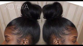 quick easy sleek high bun on blown out natural hair