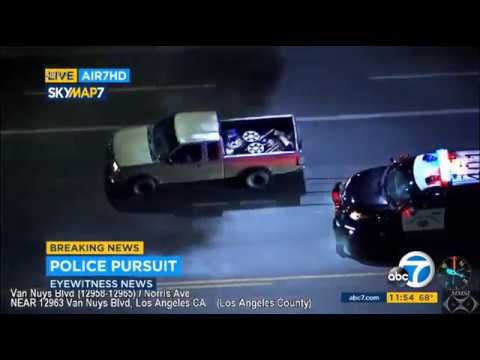 Police chase suspect in San Fernando, California 9-9-17  LVWOTWoF #Police_Pursuit