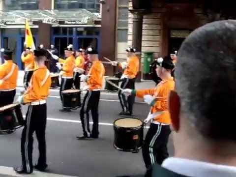 West Belfast, Drummers from Eire Nua Flute Band, Givin' it Loads, Westland Row/Pearse St. Dublin.