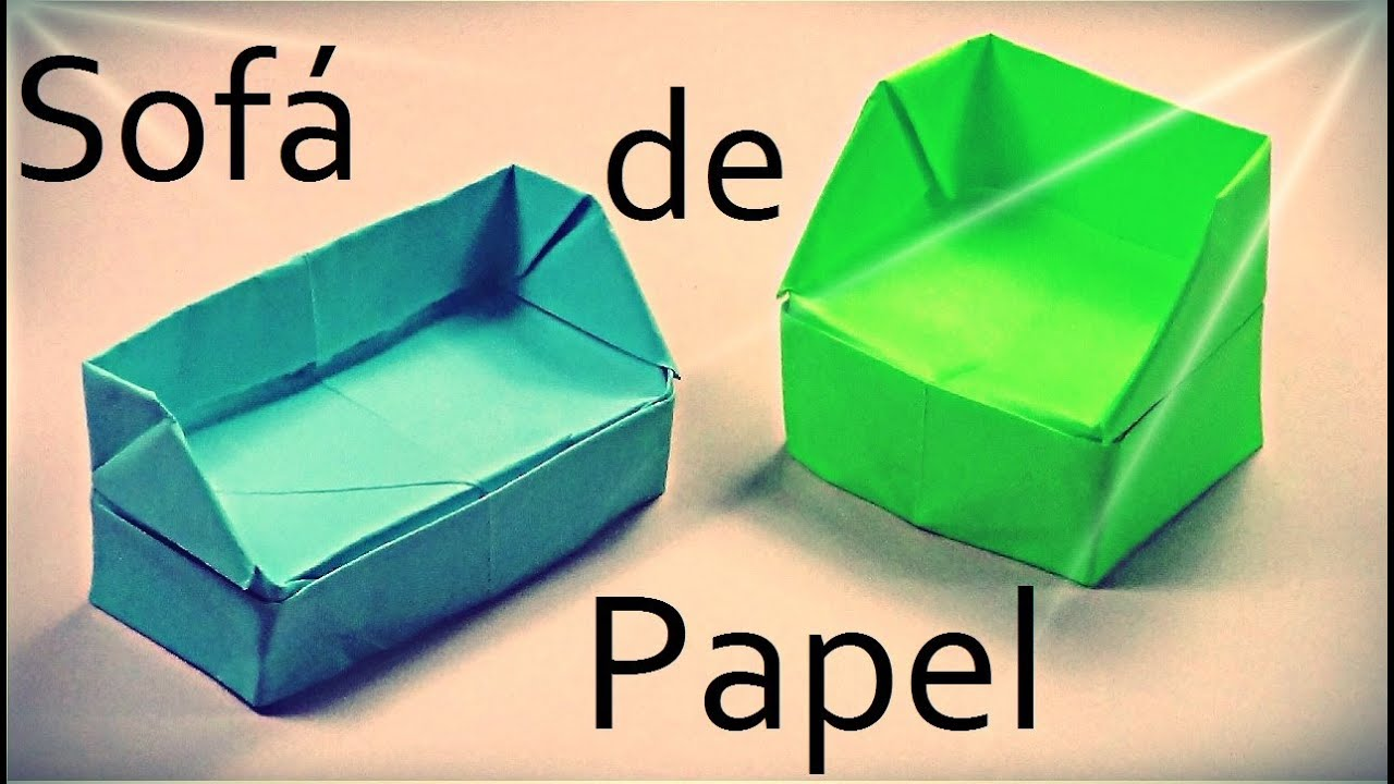 Sof de papel origami youtube for Sillas para una maqueta