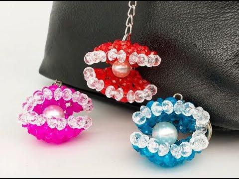 DIY Kawaii Bead Shell Keychain 水晶串珠教学 可爱的水晶小贝壳挂饰