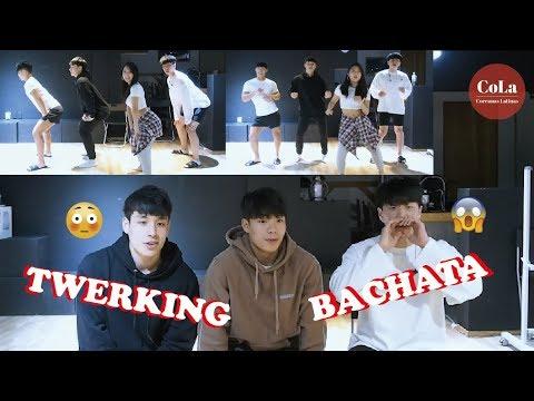 Coreanas Latinas Coreanos reaccionan y aprenden baile latino TWERKING+BACHATA