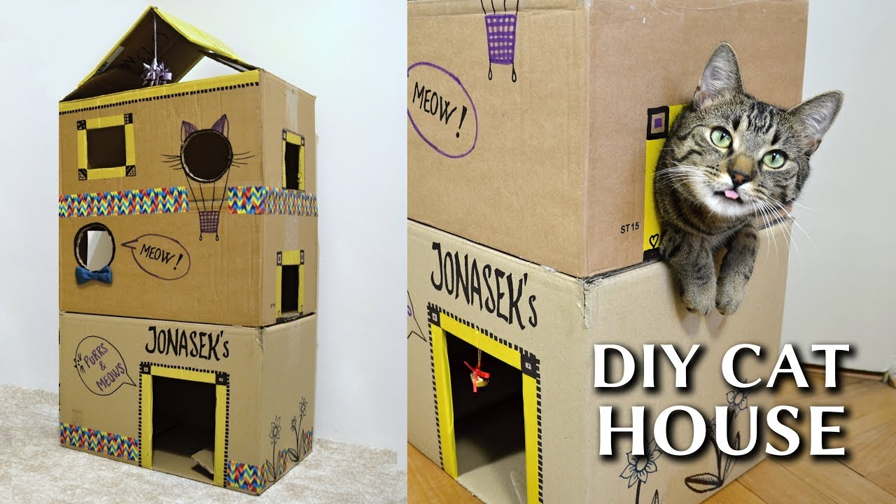 Epic cardboard cat house diy youtube for How to make a cat toy out of a box