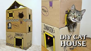 EPIC cardboard cat house DIY
