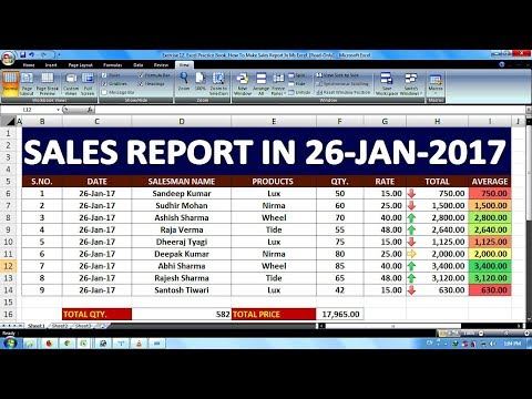 Exercise 12 Excel Practice Book How To Make Sales Report In Ms