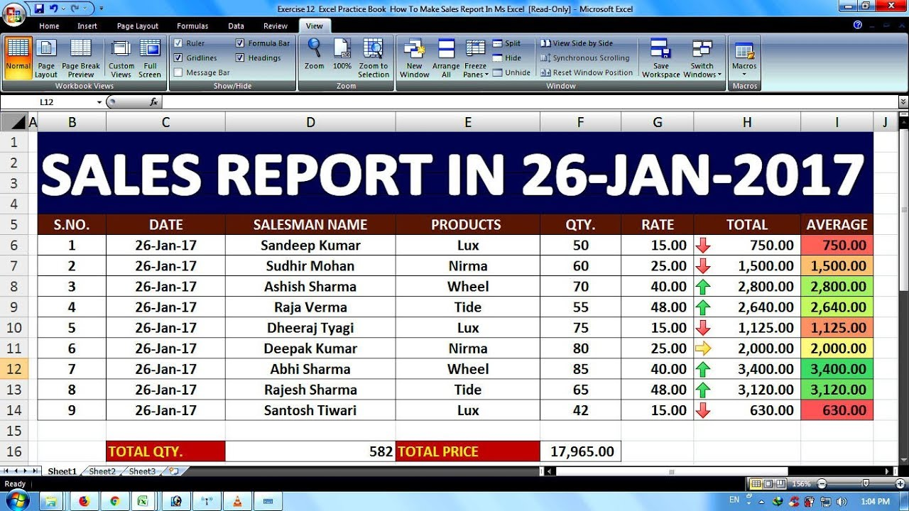 Exercise 20   Excel Practice Book   How To Make Sales Report In Ms Excel
