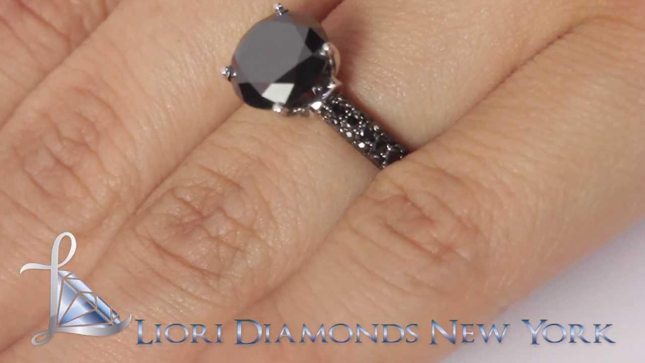 Bdr168  412 Carat Certified Natural Black Diamond Engagement Ring 18k  Black Gold