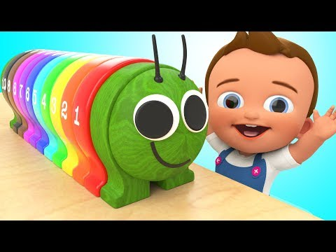 Learning Numbers & Colors for Children with Wooden Caterpillar Toy Set 3D Kids Toddlers Educational