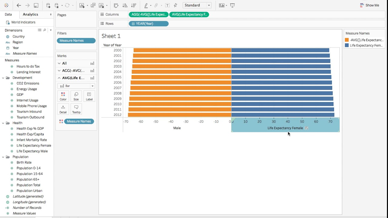 tableau tutorial 12  how to create a pyramid chart