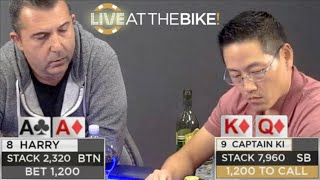 Can Harry Hijack Captain Ki's Stack With Pocket Aces? ♠ Live at the Bike!
