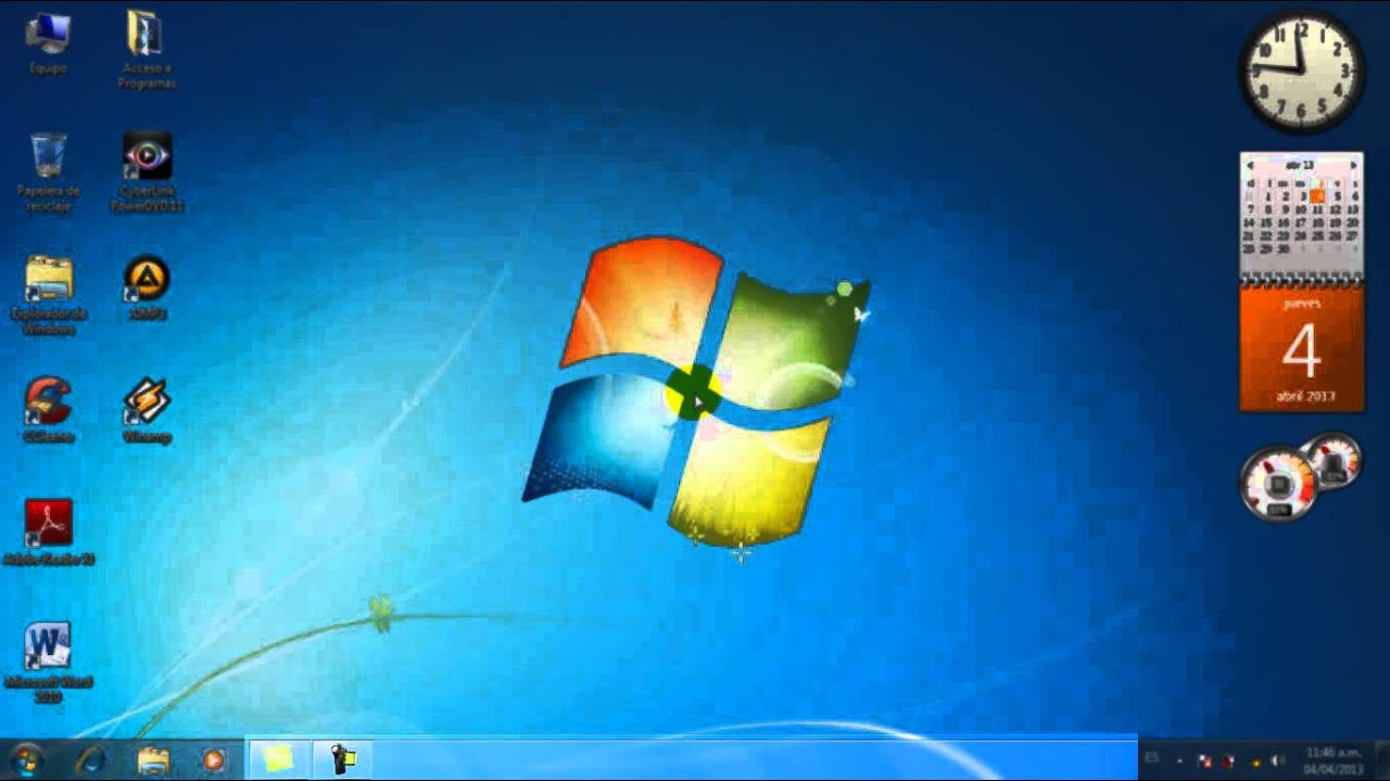 Windows 7 partes del escritorio youtube for Que es el fondo de escritorio