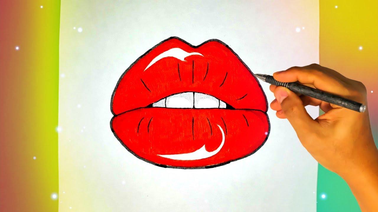 нарисовать прикольный рисунок губы дерево имеет