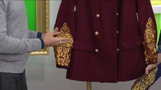 C. Wonder Double Breasted Peacoat with Lurex Embroidery on QVC