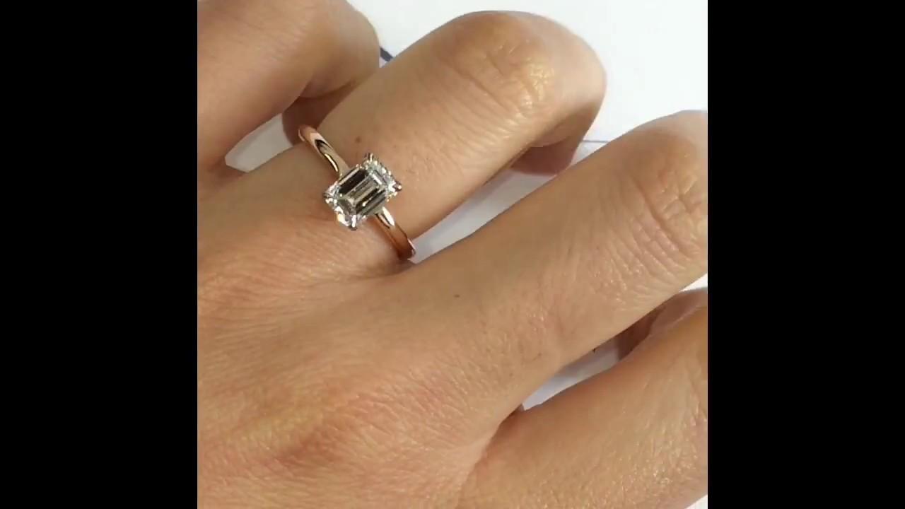 Carat Emerald Cut Diamond Ring On Hand