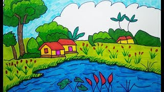 How to Drawing scenery | scenery of village | Learn Drawing for Kids, children's & beginners