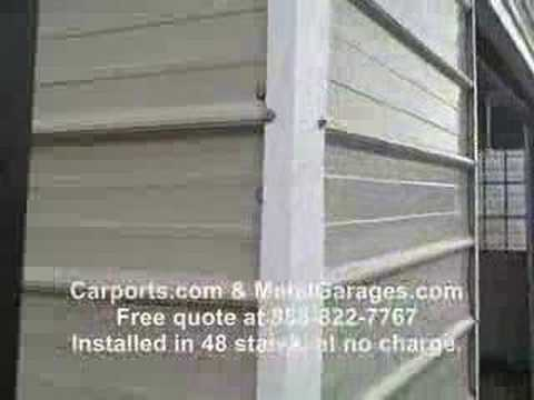 Metal garage with automatic garage door youtube
