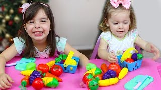 APRENDENDO CORES com minha irmã| Learn Colors with Cutting Fruit and Vegetables Playset for Kids