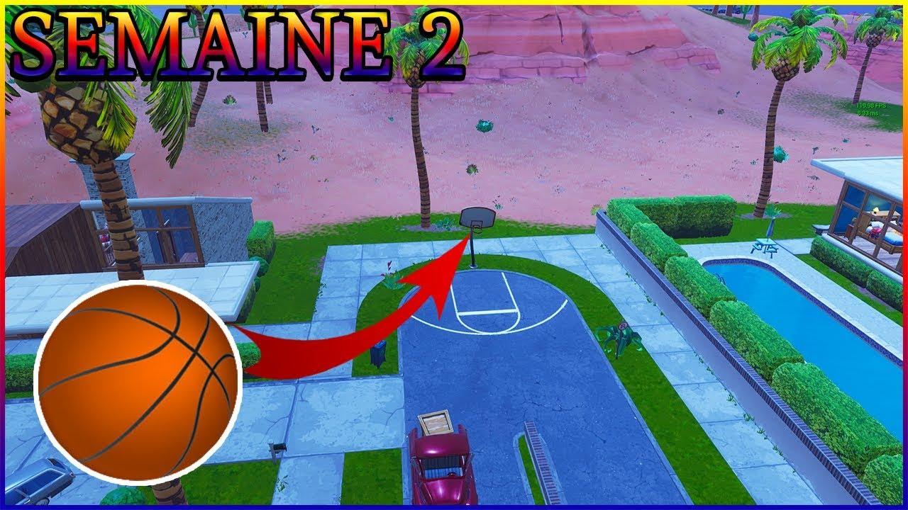 mettre un ballon de basket dans differents paniers semaine 2 saison 5 fortnite battle royale - panier de basket fortnite saison 5