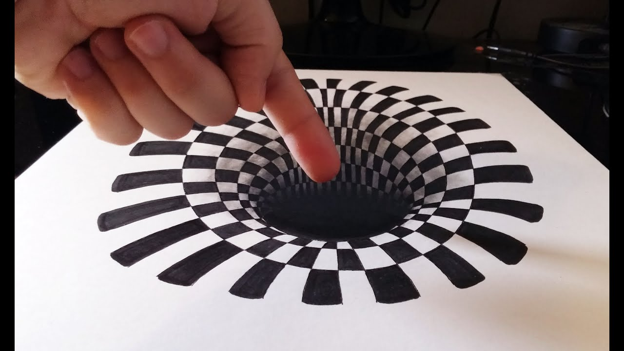 Cómo dibujar un INCREÍBLE agujero/hoyo 3D   How to draw a 3D hole   ILUSIÓN ÓPTICA ANAMÓRFICA 3D #1