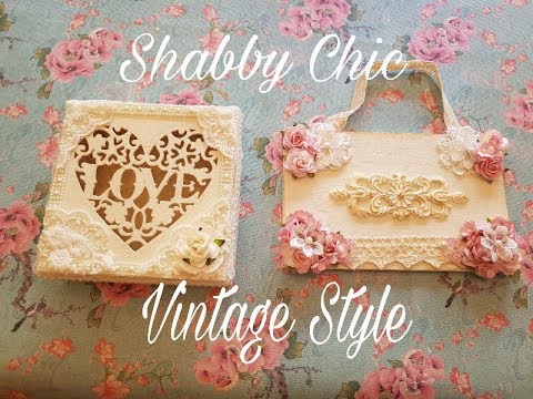 Decorated Wooden Box & Plaque Shabby Chic / Vintage  Style