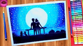 Beautiful moonlight Couple Scenery drawing with Oil Pastels - step by step