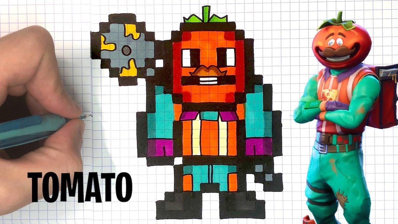 How To Draw Tomato Head Pixel Art Fortnite