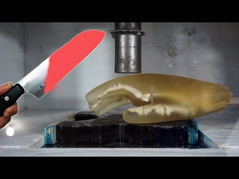 Thumbnail: Experiment Glowing 1000 Degree KNIFE vs HAND vs Hydraulic Press || Ultimate Destruction Video