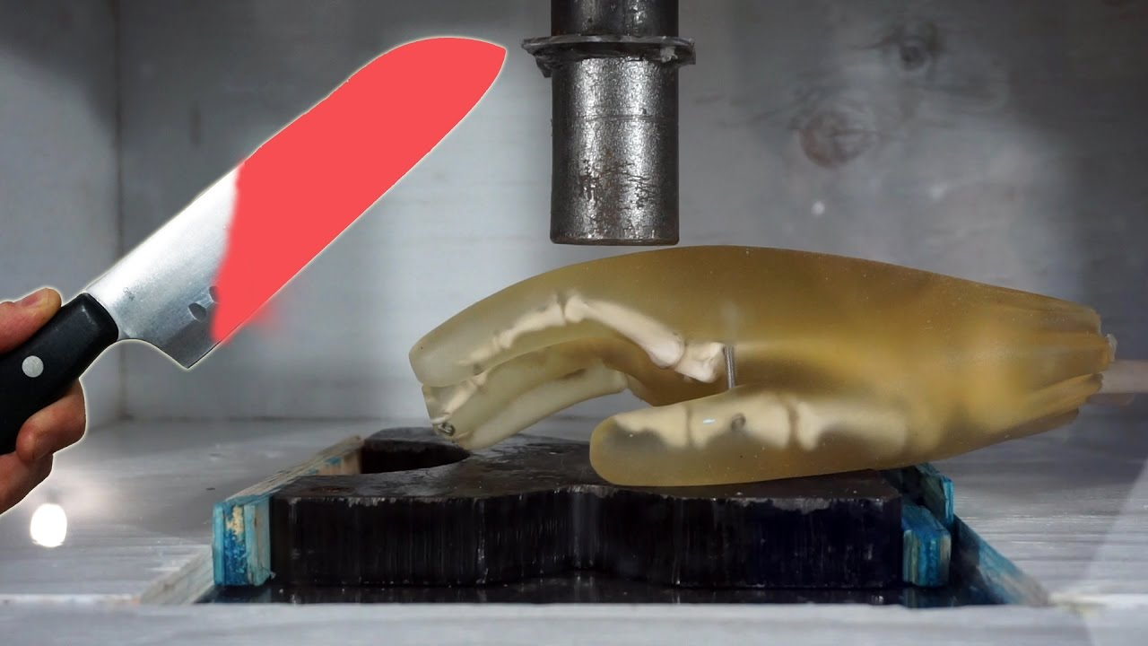 Experiment Glowing 1000 Degree KNIFE vs HAND vs Hydraulic Press || Ultimate  Destruction Video