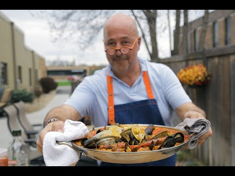 Andrew Zimmern Cooks: Grilled Seafood Paella