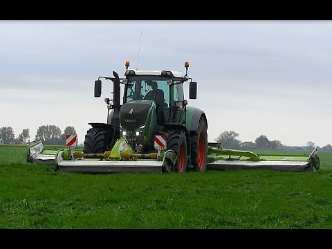 Gras maaien met: FENDT 828 + CLAAS Disco Triple 9100. J.v.d. Bergh.
