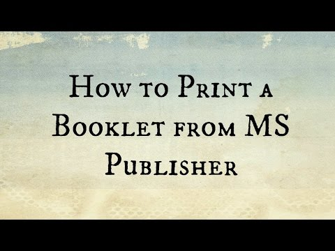 How to print a booklet in MS Publisher