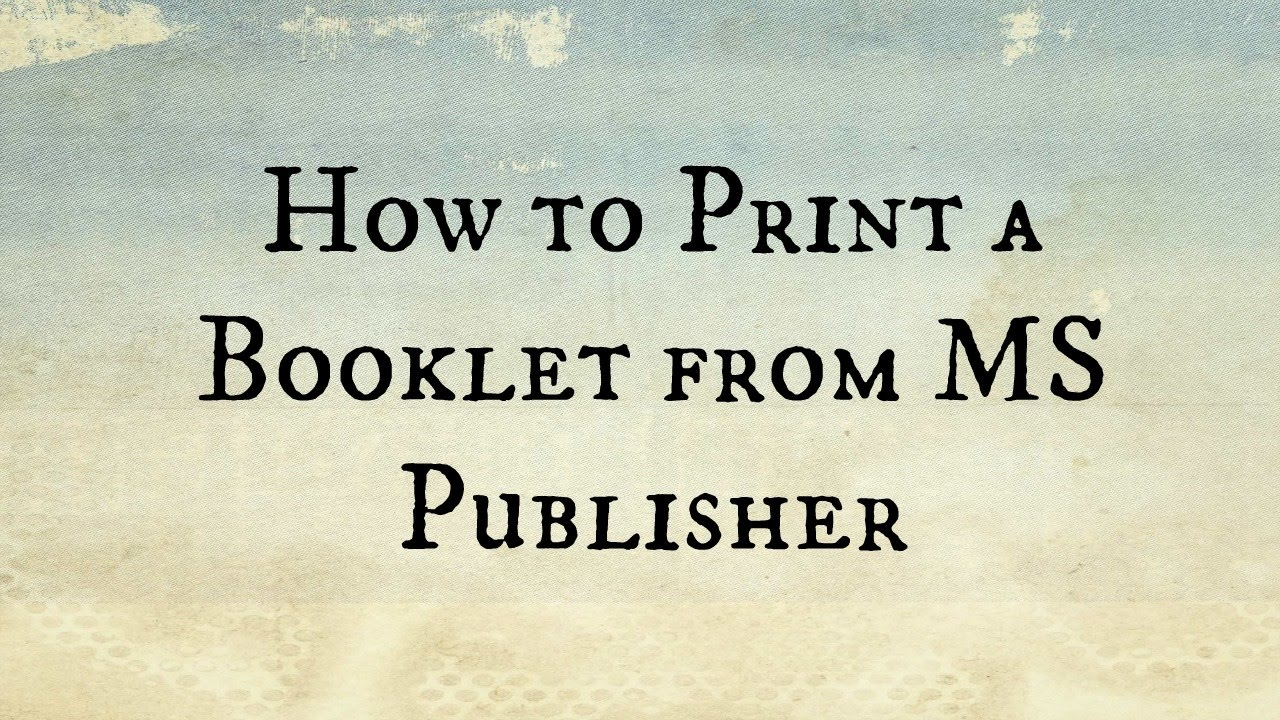 how to print a booklet in ms publisher youtube