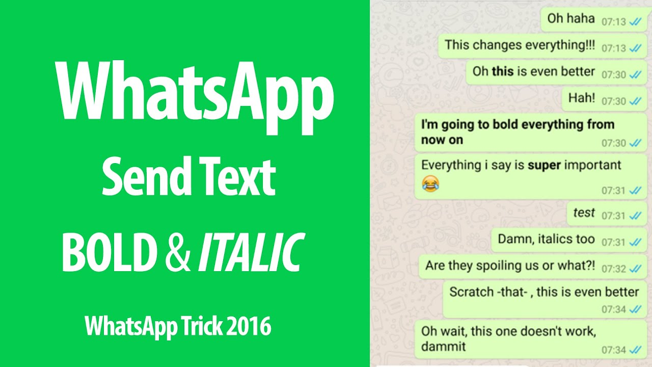 WhatsApp Tricks : How to Send Bold & Italic Text Message in WhatsApp  Messenger