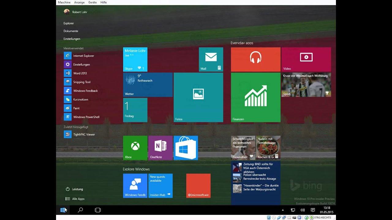 windows 10 insider preview build 10074 tablet modus youtube. Black Bedroom Furniture Sets. Home Design Ideas