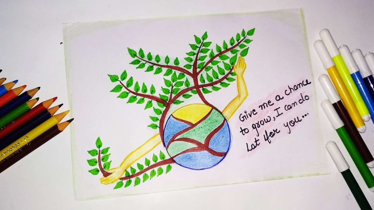 Save earth drawing || save trees drawing || save nature ...