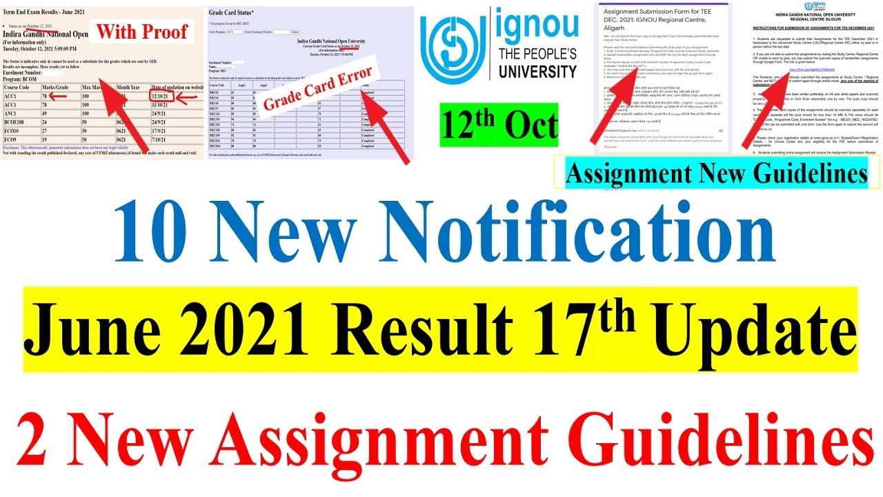 IGNOU June 2021 Result 17th Update   2 New Assignment Submission Guidelines    10 New Notification