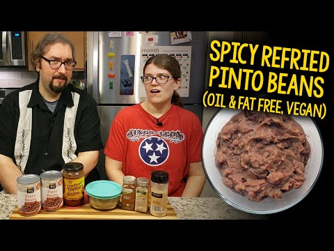 Recipe: Spicy Refried Pinto Beans (Oil Free, Fat Free, Vegan, Low Sodium)