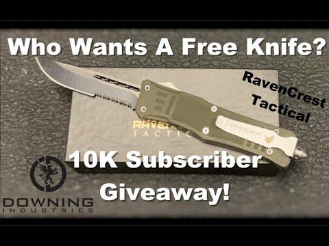 10K Subscriber Giveaway! Raven Crest Tactical OTF Knife and more!!