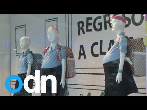 'Pregnant' schoolgirl mannequins at mall shock Venezuelans