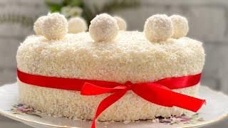 Новогодний торт Рафаэлло с кокосовой стружкой Almond Coconut cake Raffaello
