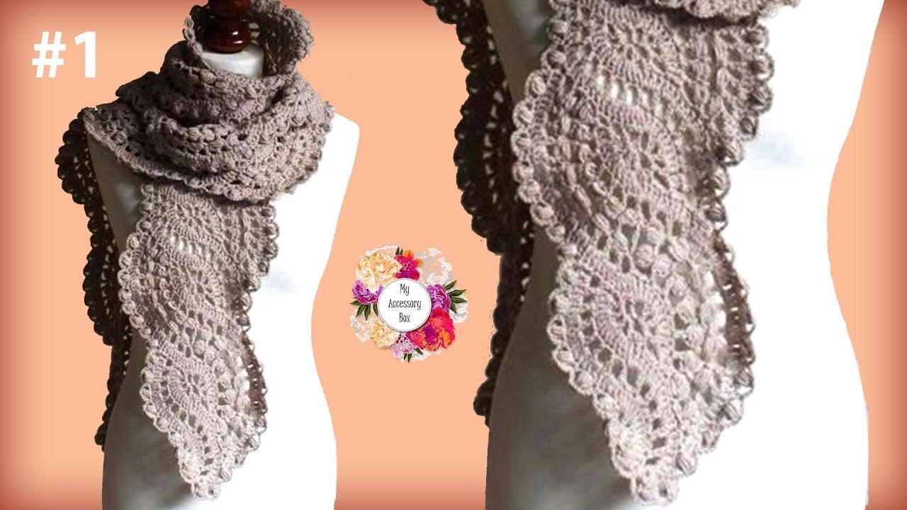 Wavy Crochet Lace Scarf Tutorial Part 1 Youtube
